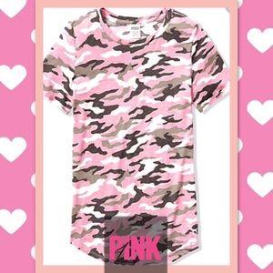 VS Pink Camo Pink Perfect Crew Tee, XS